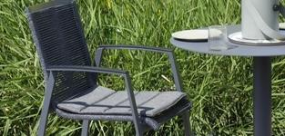 Basso tafel 240 + 6 Torino rope stapelstoelen